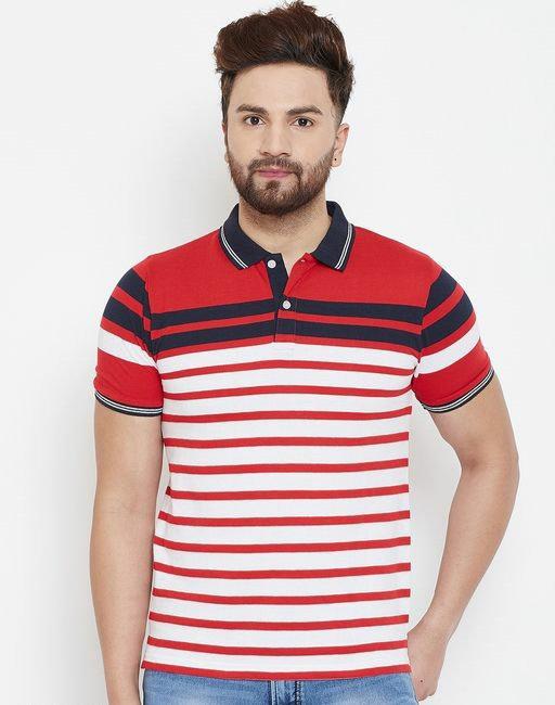 Austin wood Men's Multi Striper Half Sleeves Polo Neck T-shirt