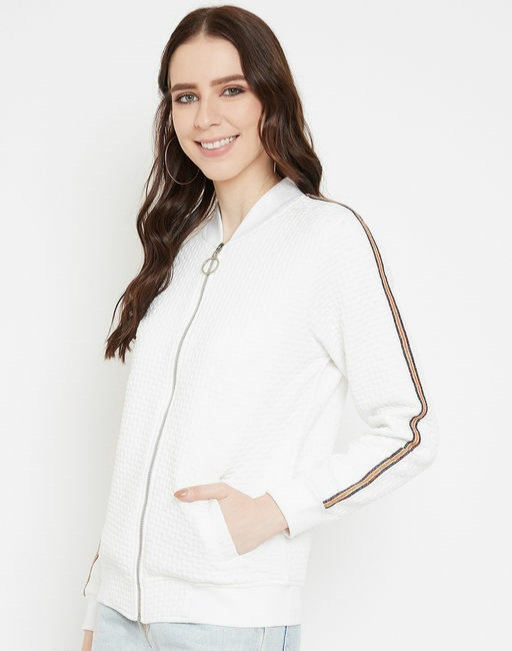 Austin wood White Full Sleeves Self Design Bomber Neck Sweatshirt