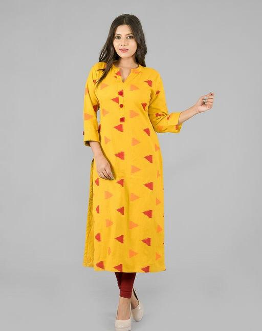 Adrika Printed Yellow Kurti