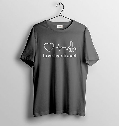 Love-Live-Travel Grey Coloured Men T-shirt
