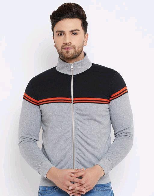 Austin wood Grey full sleeves Colorblocked High Neck sweatshirt