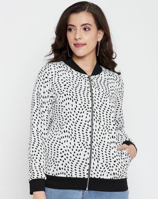 Austin wood White Full Sleeves Printed Bomber Neck Sweatshirt