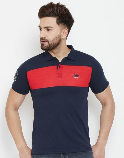 Austin wood Men's Navy Blue Colorblocked Half Sleeves Polo Neck T-shirt