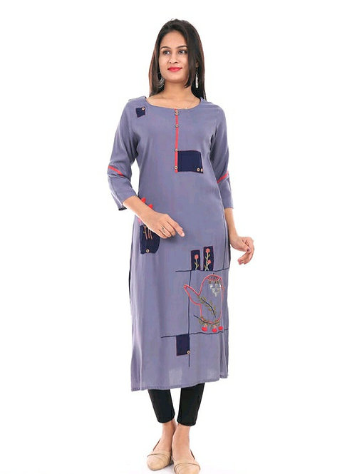 Women's Embroidered Rayon Kurti