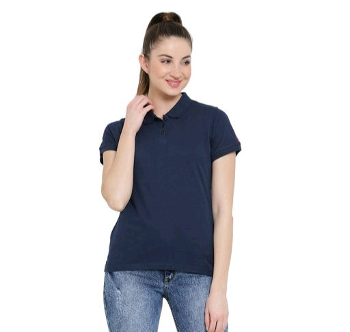 Austin Wood Women's solid half sleeves polo T-shirt
