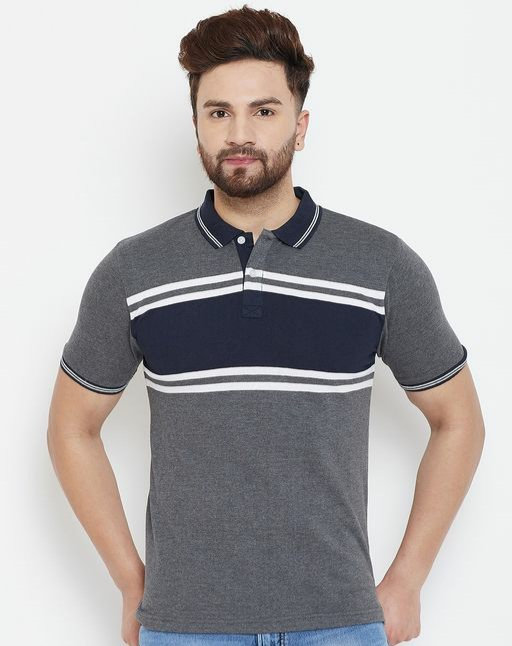 Austin wood Men's Charcoal Colorblocked Half Sleeves Polo Neck T-shirt