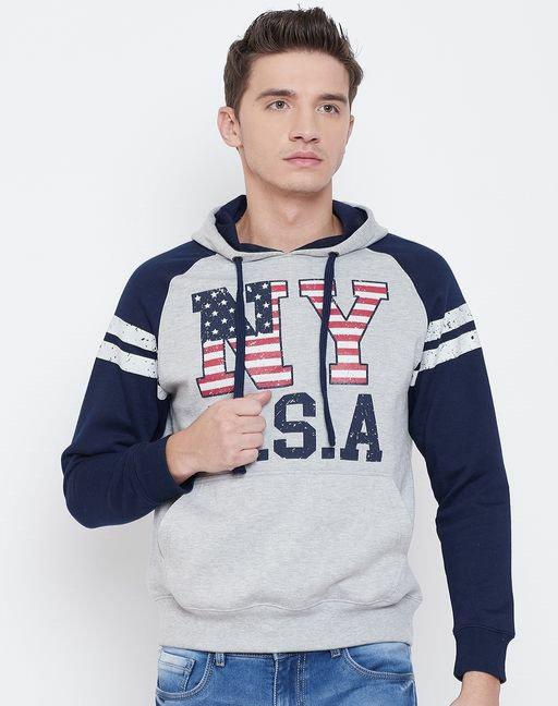 Austin wood Grey full sleeves Printed Hooded sweatshirt