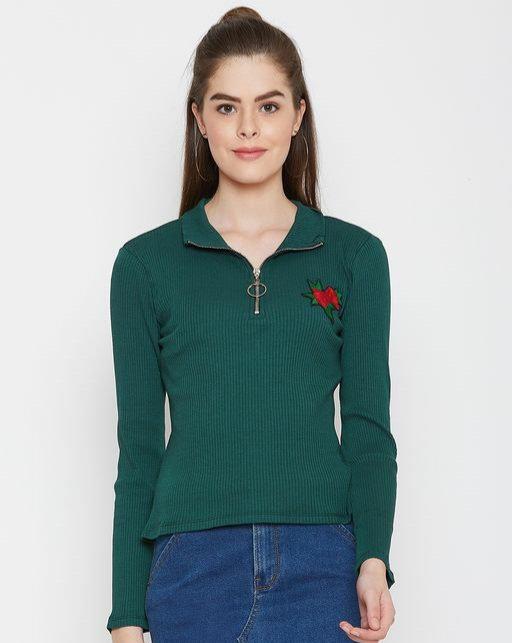 Austin wood Green Solid High Neck Sweatshirt