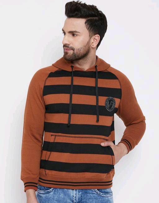 Austin wood Rust full sleeves Striped Hooded sweatshirt