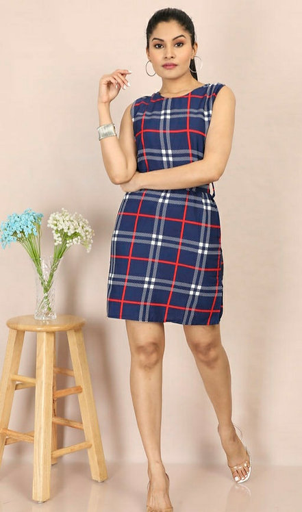 Women's Checked Navy Blue Crepe Dress