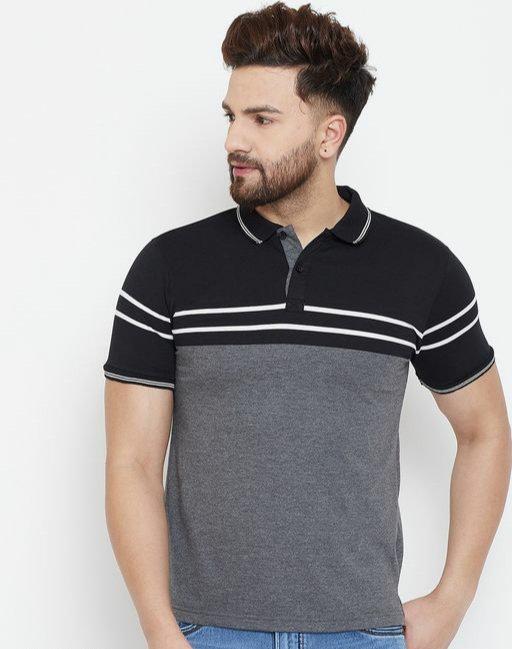 Austin wood Charcoal Striper Polo T-shirt