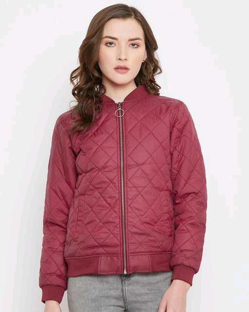 Austin wood women's marron solid full sleeves bomber neck padded jacket