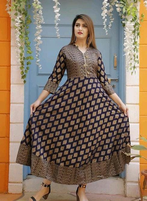 Women ethnic motif printed rayon kurtis