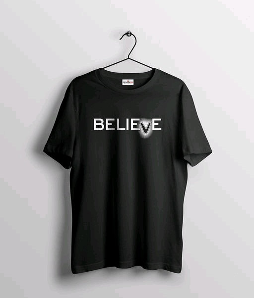 Believe text Printed T-shirt