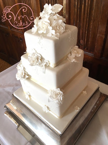 3-tier square fondant piped detail w/ flowers