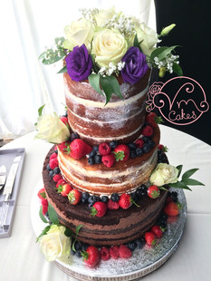 3-tier Rustic naked w/ fresh fruit & flowers