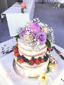 Tiered Rustic naked w/ fresh fruit & flowers
