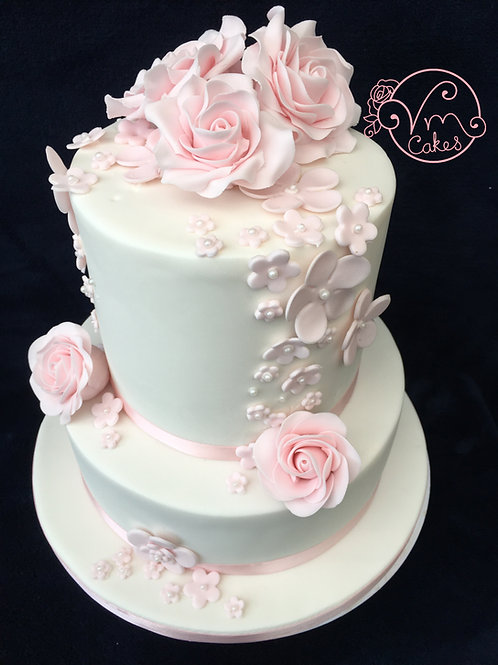 2-Tier Fondant Iced floral