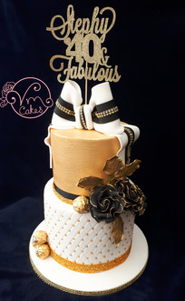 2-tier studded & gold encrusted tiers