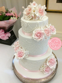 3-tier fondant w\ lace detail and sugar rose