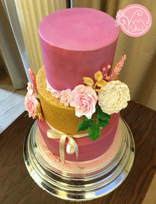 3-tier fondant w\ Rose and Peony