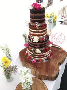 4-tier Rustic naked w/ fresh fruit & flowers
