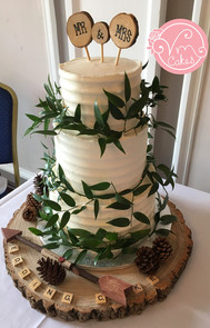 3-tier Rustic buttercream w/ greenery