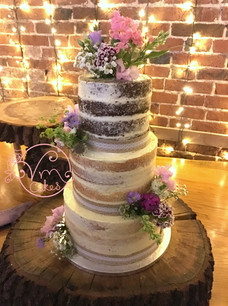 3-tier Rustic naked w/ fresh flowers