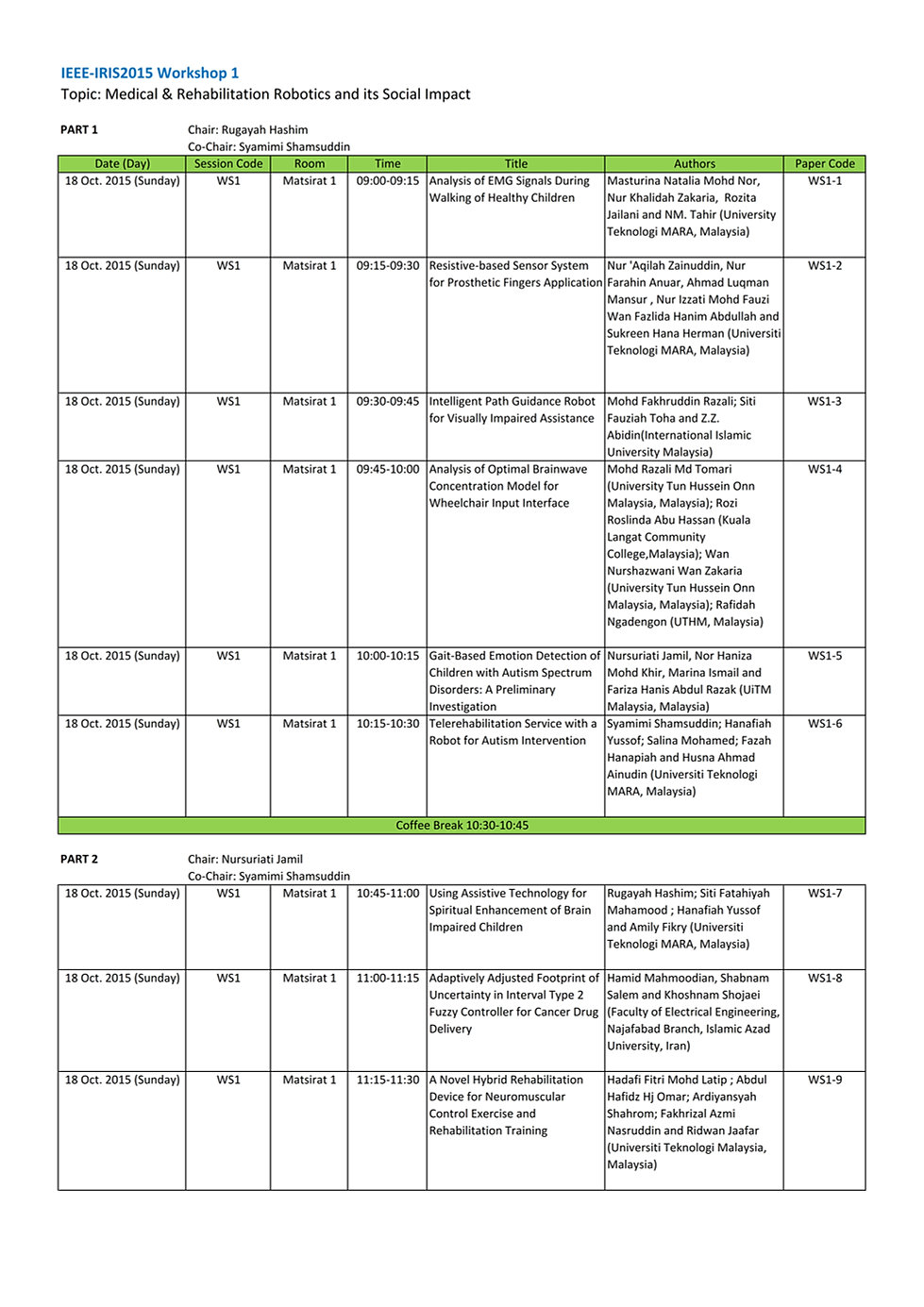 Technical session schedule icisrt 2014 final