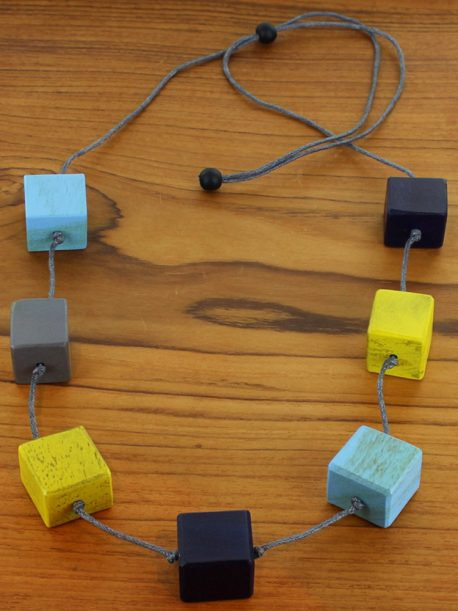 Long Wooden Cube Necklace (Adjustable)