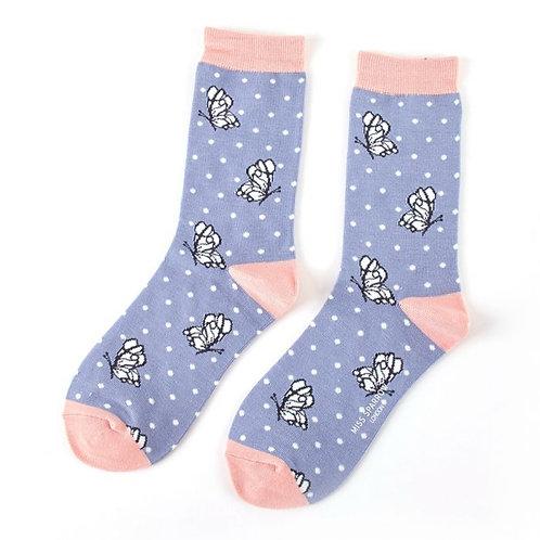 Butterflies Socks Cornflower