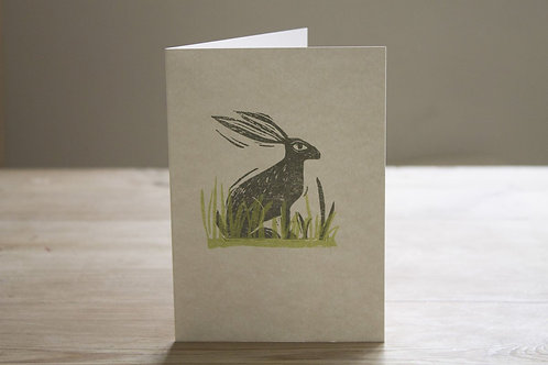 Hare In The Grasses Greetings Card