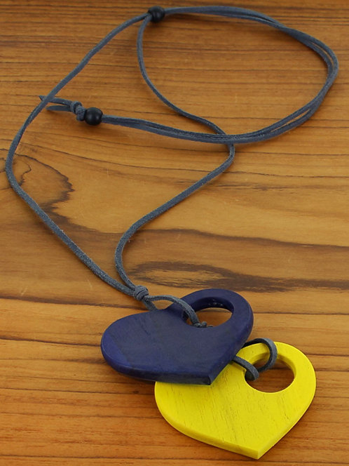 Double Wooden Heart Necklace (Adjustable)