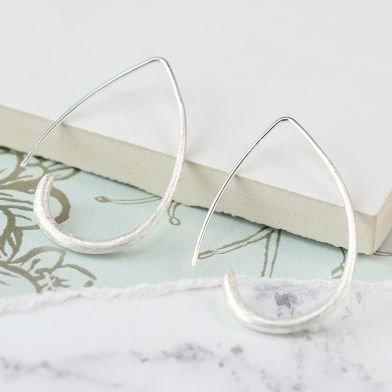 Silver plated scratched teardrop earrings