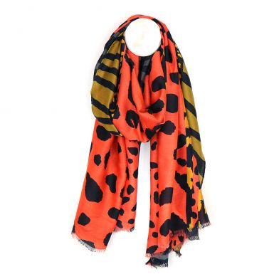 Orange mix abstract animal print scarf