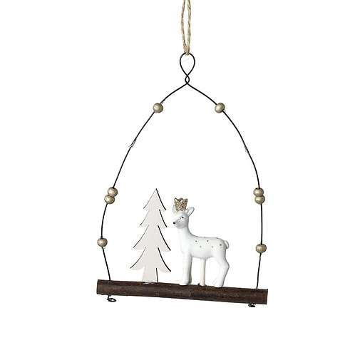 Hanging Resin Deer With Tree