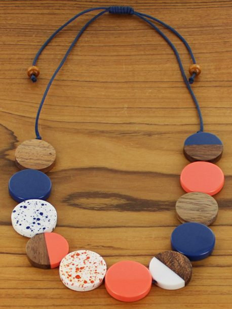 Simple Resin & Wood Disc Necklace