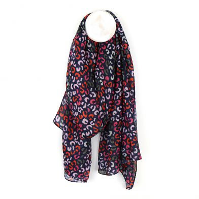 Navy blue, red and pink print recycled scarf