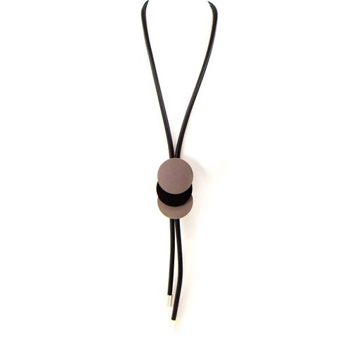 Long Y-shape neoprene necklace with triple disc overlap