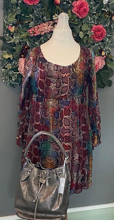 Burgundy Snake Print Silk Dress