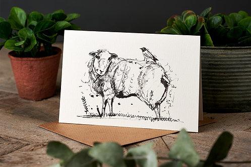 Sheep & Bird Greetings Card