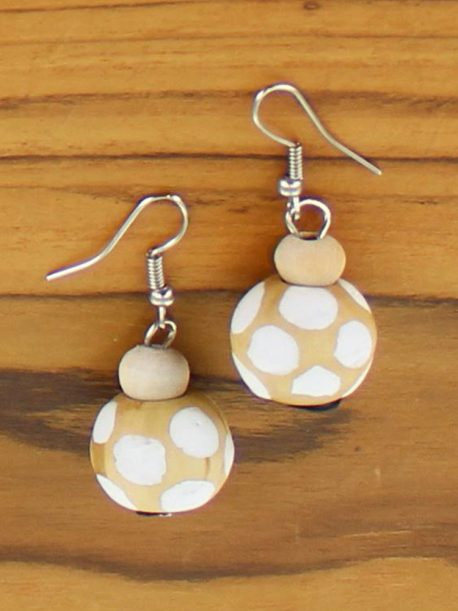 Spotty Wooden Ball Earring