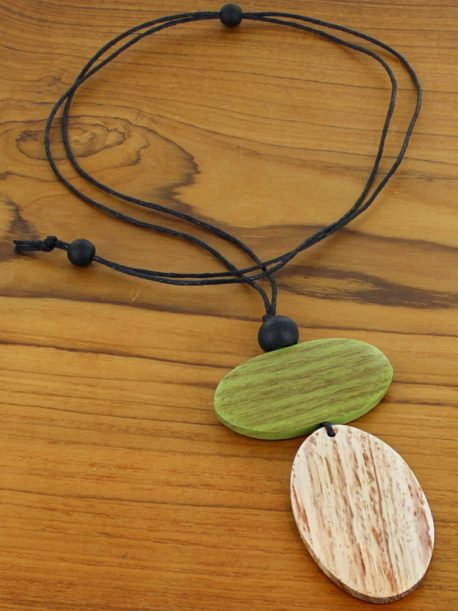 Simple Double Oval Pendant Necklace (Adjustable)