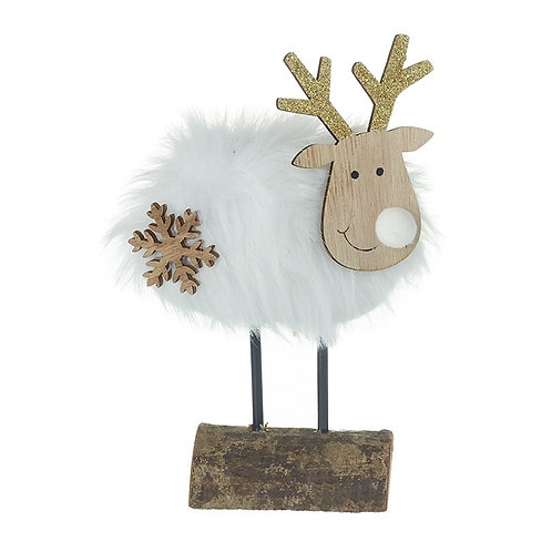 Wooden Deer On Log With White Fur Body