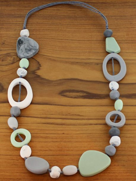 Long Mixed Shape Resin Necklace – Mint & Grey (Adjustable) £7.90