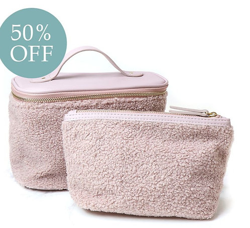 Faux Shearling Pink Make-Up and Travel Bag Set
