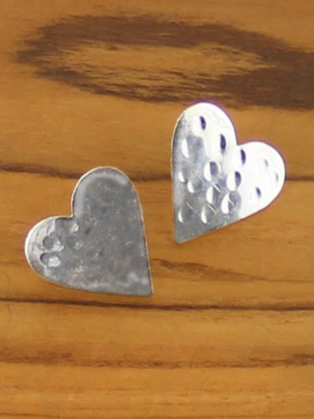 Simple Beaten Silver Stud Heart Earrings