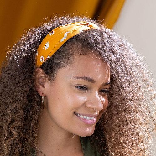 Mustard yellow daisy print headband