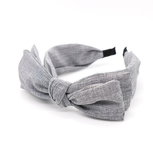Pale grey large bow headband