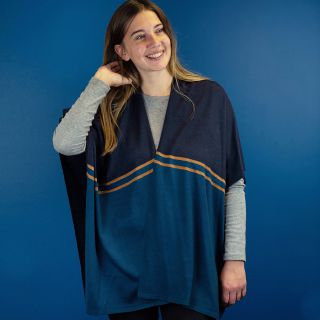 Navy and teal knit wrap with stripes